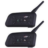 Venta Al Por Mayor De Motocicleta Cascos De Intercomunicación Baratos-Venta al por mayor Fodsport 2pcs / lot V6 favorable auricular del receptor de cabeza de Bluetooth de la motocicleta Intercomunicador BT Interphone 6 Jinetes 1200M