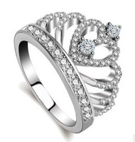 Wholesale handmade ring settings - Women Crown ring Handmade 1.5ct AAAAA zircon cz 925 Sterling silver Engagement Wedding Band Ring for women Gift