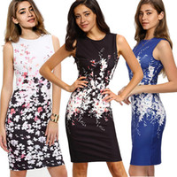 Wholesale Ladies Dresses For Office - 2018 Women Bodycon Office Work Dresses Sleeveless Floral Printed Pencil Dresses for Lady Knee Length Plus Size Summer Casual Gowns FS2006