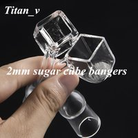 Wholesale Cube Cap - 2mm Thick Sugar Cube Banger Nail 90 Degree 10 14 18mm Male Female Clear Joint Glass Water Bongs Carb Cap Dabber Oil Rigs Pure Crystal Quartz