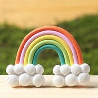 Wholesale Wholesale Cabochons For Hair Bows - Wholesale- Flatback DIY Clay Rainbow Cabochons Flat Back Scrapbooking Hair Bow Embellishment Resin Crafts Puzzles Toys for Kids Children