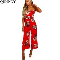 Compra Top Donna Floreale-Qunndy Rosso Stampa floreale Top Womens Jumpsuit Sexy Backless Chic Nina Rompers Tuta da lavoro Estate Streatwear Playsuit Women 2017 q170716