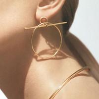 Wholesale Earring Studs Pins - Morden Simple Geometric Stud Earrings Big Circle Long Pin Ear Studs Jewelry SALE