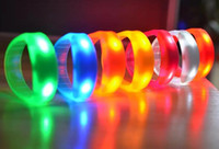 Wholesale Motion Activated Sounds - Factory stock 7 Color Sound Control Led Flashing Bracelet Light Up Bangle Wristband Music Activated Night light Club Activity Party Disco