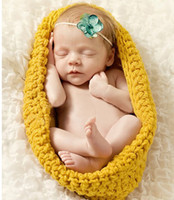 Wholesale Newborn Baby Sleeping Costume - Baby Sleeping Bag Photography Props Newborn Boy and Girl Crochet Outfit Infant Coming Home Photo Props Doll Accessories Costume BP044