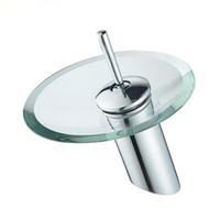 lavabo de baño de vidrio redondo al por mayor-2017 nuevo cuarto de baño grifos del fregadero cuarto de baño de vidrio grifo cascada lavabo mezclador frío y caliente del fregadero del grifo envío gratis