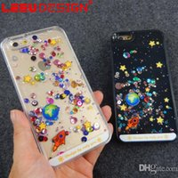 Wholesale Flash Universe - For iphone 6s 6plus plastic hard case luxury glitter universe stars flash chip dynamic moving liquid quicksand phone case cover pp bag