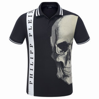 Wholesale Mens Casual Shirts Styles - 2017 Summer Fashion European Top Brand Mens Short PoloShirt Fit Slim Desinger Print 3D Rhinestone Skulls Casual l Mens T-Shirts P1057-1062