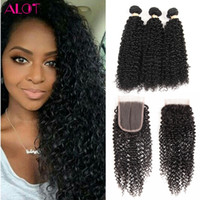 Wholesale Mongolian Kinky Curly Remy Weave - Brazilian Human Hair Bundles with Closure Kinky Curly Hair 3 Bundles with 4x4 Closure 100% Unprocessed Remy Human Hair Lace Closure