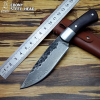 Wholesale forging tools for sale - High quality Fixed blade knife New High carbon Steel Handmade Forged Damascus Hunting Knife Steel head rare ebony ebony handle tool