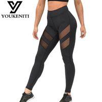 Wholesale Harajuku Leggings - Wholesale- Athleisure harajuku leggings for women mesh splice fitness slim black legging pants plus size sportswear clothes