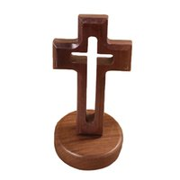Wholesale Decorations For Church - Bairuiou Wooden Cross Standing Hand Made Ornaments Jesus Christian Church Decoration Desktop Tabletop Artcrafr for Home Decor