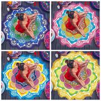 Wholesale Hang Carpet - Round Beach Blankets Towel Mandala Tapestry Indian Wall Hanging Beach Throw Towel Tassel Yoga Mat Carpet Polyester Printed Blanket OOA1240