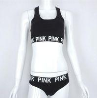 Wholesale New Sportwear Women Clothing - Summer new women Love pink Tracksuit Sleeveless Suits for Women 2 Piece set Vest + short Women Tracksuit Casual sportwear clothing
