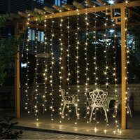 Wholesale Decorative Mushrooms - Free Shipping 3Mx3M 300LED Curtain Icicle led String Lights Christmas New Year Wedding Party decorative outdoor Lights 220V EU