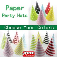 Wholesale Chevron Polka Dot Party - Wholesale-24pcs Pick Your Colors Pink,Blue,Red,Green,Black,Yellow Striped Chevron Polka Dot Paper Party Hats Caps for Kids,Adults,Birthday
