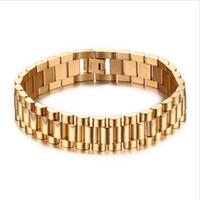 luxo ouro banhado a ouro relógios venda por atacado-15mm Homens De Luxo Assista Banda Pulseira Banhado A Ouro de Aço Inoxidável Strap Links Cuff Bangles Jóias Presente 22 CM BR-201