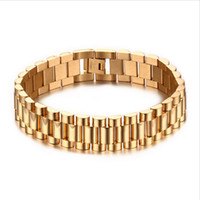 Wholesale Br Bracelet - 15mm Luxury Men Watch Band Bracelet Gold Plated Stainless Steel Strap Links Cuff Bangles Jewelry Gift 22CM BR-201