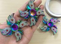 Wholesale Beyblade Phoenix - 20pcs lot Colorful Rhinestone Angel Wing Phoenix Butterfly Diamond Beyblade Fidget Spinner Fingertip Gyro Hand Spinner EDC ADHD Toys