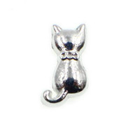Wholesale Cat Charm Living Locket - 20PCS lot Silver Color Cat Floating Locket Charms Fit For DIY Glass Living Magnetic Locket Jewelrys As Gift