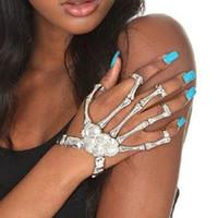 Wholesale Skeleton Bones Hand Jewelry Wholesale - Holloween Party Jewelry Punk Skeleton Skull Hand Finger Bracelet Bone Skull Bracelet Rock Silver Chain Bangle