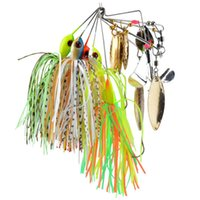Wholesale Catfish Lures - 5pcs lot Spinner Bait Rotating Lure Sequined Beard Lures Noisy Buzzbait Composite Bait Target for Catfish Bass