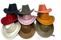 Wholesale Tie Leather Cord - 2017 Men Women Wild Jazz Wind Suede Panama Cowboy Cowgirl Western Hat Sunhat Adjust Cord