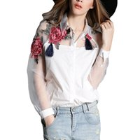 Wholesale Organza Tops - 2017 Summer Fashion Women Applique Blouses Flower Embroidery Vintage Shirts Sheerness Organza Sleeve Tops Plus Size S-3XL Blusas