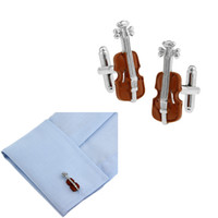 Wholesale Violin Dress - Fashion Elegant Violin Design Shape Cuff Link Red Enamel Cufflinks Sleeve Nail Men French Shirt Buttons Wedding Dress Party Chiristmas Gift