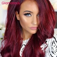 Wholesale Cheap Colored Hair Dye - Glamorous Burgundy Hair Weaves 2 Pieces Peruvian Indian Malaysian Brazilian Hair Bundles Body Wave Straight Human Hair Cheap Colored Weft