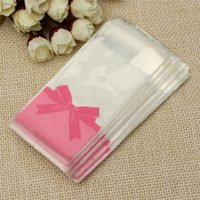 Wholesale Mini Gift Bows - Wholesale-Self-adhesive Candy Bags Wedding Mini Flower Lace Bow Gift Pink Clear Packaging Opp Bag Biscuit Cookies Storage 100pcs lot