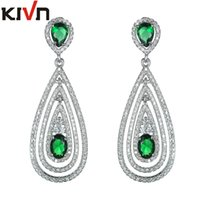 Wholesale Cz Bridal - KIVN Fashion Jewelry Blue Dangle Drop CZ Cubic Zirconia Bridal Wedding Earrings for Womens Girls Christmas Mother Promotion Valentine Gifts