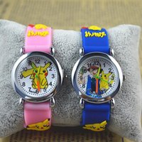 Wholesale 3d Cartoon Watches For Kids - Poke Go Pikachu Watches 3D Cartoon Anime Kids Children Student Watch Wristwatches Silicone Quartz Wrist Watch For Birthday Christmas Gift