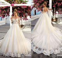 Wholesale Boat Neck Bridal Wedding Dress - Plus Size Long Sleeve Lace Wedding Dresses 2017 Vintage Lace Boat Neck Illusion Bodice Appliques Bridal Gowns Arabic Dubai Wedding Dress