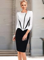 Wholesale Winter Shorts Womens - Wholesale- eSale Womens Autumn Winter Long Sleeve Color Block Front Zipper Slim Bodycon Sheath Party Prom Casual Midi Dress CG078