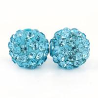 Wholesale Disco Ball Resin - Factory Sales Lt.Aquamrine Resin Shamballa Disco Ball Beads Pave Disco Crystal Size 6mm, 8mm,10mm,12mm 100pcs bag
