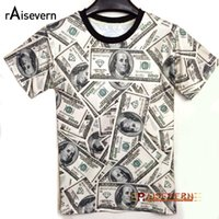 Wholesale T Shirt 3d Dollars - Wholesale- Funny! 2017 Summer Fashion Women Men T-shirt The Money Dollar Print O-neck Novely 3d T Shirt Tops Shirts Unisex Top Tees
