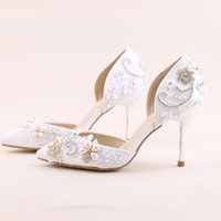 Wholesale white girl shoes pearls resale online - 2019 Newest Arrived White Color Pointed Toe Summer Stiletto Bridal Wedding High Heels Rhinestone With Pearls Decoration Girl Shoes