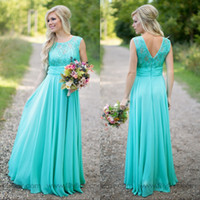 Wholesale Cheap Turquoise Bridesmaids Dress - Turquoise lace Bridesmaid Dresses 2017 Scoop Neck Cheap Chiffon Wedding Party Gowns Long Country Maid of the Honer Dress