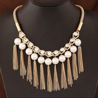 Vente en gros-Simulated Pearl Link chaîne Tassel Statement Collier Femmes Rhinestone Colliers Pendentif Jewelry Collar Pour Gift Party