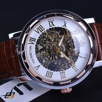 Wholesale Orkina Mens - Wholesale- Orkina Classic Retro Design Brown Leather Strap Mechanical Skeleton Watch Mens Watches Top Brand Luxury Clock Men Montre Homme