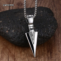 Wholesale Stainless Steel Bikers Chain - Wholesale-Striking Mens Stainless Steel Spearhead Pendant Necklace for Men Arrowhead Biker Jewelry with 24'' Chain