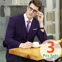 Wholesale Tuxedo Vest Set Piece - Mens purple suit 3PCS set (suit + vest + pants) High quality fabrics Wedding groom suit 3 piece suit for men