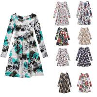 Wholesale Long White Straight Skirt - Long sleeve big girls dress children floral skirts kids full printing dresses 9 styles hot sell girl's cotton clothing
