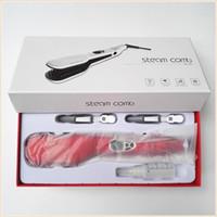 Wholesale Hair Straightener Ceramic Red - LCD Fast Straightening Steam Brush Hair Straightener Comb Vapor Detangle Hair Comb Electric Steam Hair Straightener