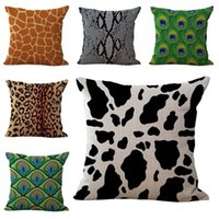 Wholesale zebra pillows - Animal Zebra Peacock Tiger Snake Skin pattern Pillow Case Cushion cover Linen Cotton Throw Pillowcases sofa Bed Car Decorative Pillowcover