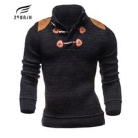 Wholesale Wholesale Personalized Sweater - Wholesale- Male Sweater 2017 Male Brand High Quality Casual Slim Sweaters Men Personalized Decorative Hedging Collar Men'S Sweater XXL