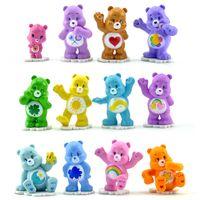 Wholesale Decorative Ornaments - 12pcs lot 4-6cm Care Bears Toys Dolls Cute Anime Figure Kids Toys For Boy Girl Kawaii Rainbow Bear Ornaments Decorative WX130