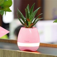 Wholesale Lighted Flowers Battery - New Smart Mini Flower Pot Plastic Bluetooth Speaker Decoration With Built in Battery Office Decor Planter Colorful Light Creative Music Toy