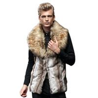 Wholesale Imitation Fur Coats - Wholesale- Fashion Mens Faux fur Vest 2017 Autumn Winter Warm Imitation Fox Fur Vest Plus Size Faux Fur Jacket Coat Overcoat Gilet N291